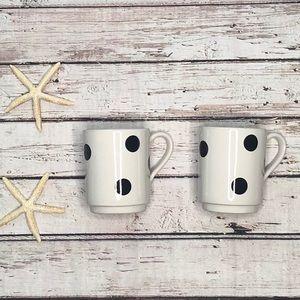 Kate Spade White Deco Dot Mugs • Set of 2